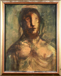 SYLVAIN VIGNY (1903-1970) LARGE SIGNED FRENCH EXPRESSIONIST OIL - CHRIST