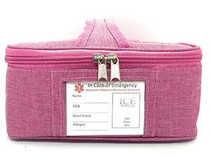 ICE Medical Pink Midi Asthama Medication Epipen Syringe Case Diabetes Inhaler