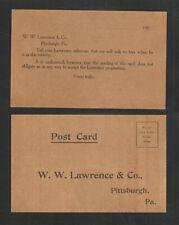 1909 W W LAWRENCE & CO PITTSBURGH PA SALESMAN CALLING POSTCARD