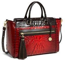 ❤BRAHMIN ANNA SATCHEL RUBY TRI TEXTURE +TASSEL KEY RING RED BROWN CROSSBODY NWT❤