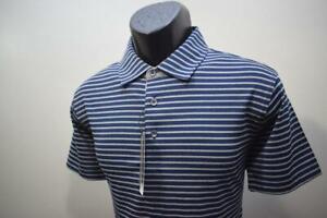 39935 New Bobby Jones Rule 18 Performance Dry Fitting Striped Golf Polo Medium