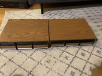 2 WOODEN TABLETOP STORAGE CASE  FOR CASSETTE TAPES  **HOLDS 42 TAPES***