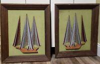 Framed Pair of Groovy Vintage MCM 1970's String Art Ship Sailboat Retro