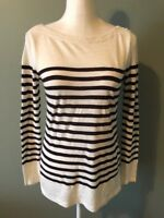Ann Taylor Loft Long Sleeve Top Shirt Size S Women Brown Ivory Striped Boat Neck