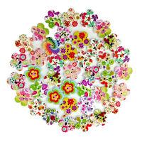 ITS- 100 Pcs Wooden Cute Flower 2 Holes Buttons Scrapbooking DIY Accessory Novel