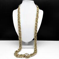 Ann Taylor Loft Antiqued Gold Tone Long Chain Link Necklace
