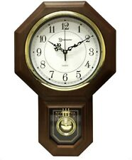 Wall Clock 18.5 in. Pendulum Chime Wood Quartz School House Traditional Decor