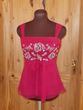 MONSOON raspberry red pink gold sequin camisole vest tunic party top SILK 8 36