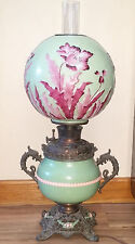 Antique 19th c B&H Copper Oil Lamp w/ Dragon Handles & Pittsburgh Poppy Globe