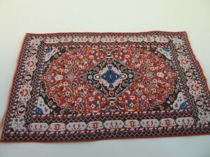 Dolls House Lounge Flooring Miniature 1:12th Scale Red Oriental Rectangle Rug