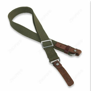 WWII Chinese Army Type 56 Canvas Braces Sling Strap With Two Leather Endings