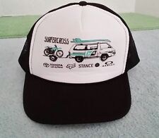 Vintage Surfercross Trucker Baseball Hat Surfing Motocross Toyota Van Mesh Black