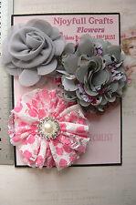 PINK & GREY Fabric Lace Organza 3 Flower Pk 60-70mm Njoyfull Crafts D3