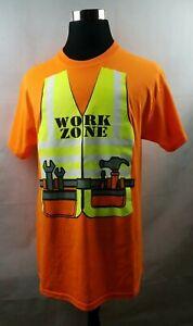 High Visibility T Shirt Yellow Orange Shirt Work Zone Novelty Mens Size Large