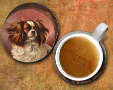 King Charles Spaniel, Pug, Lhasa Apso, Grey Terrier 4pc Round Dog Breed Coasters