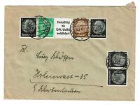 Germany 1943 Zusammendrucke Cover Hindenburg Strip of 5 w/ Label - Z645