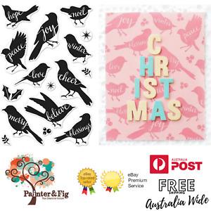 Christmas Birds Stamps & Dies - Joy, Love, Peace, Cheer, Merry, Believe, Hope