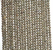 """3MM  PYRITE GEMSTONE GRADE A MICRO FACETED ROUND LOOSE BEADS 15.5"""""""
