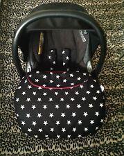 Delantal de asiento de coche de bebé Pie Muff arnés cubre maxi cosi Estrellas Negro Blanco Rojo