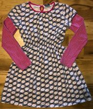 MINI Boden GIRLS 11 12 Pink GRAY Dress LONG Sleeve EASTER Floral STRIPE Knit