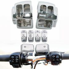 6pcs Chrome Hand Control Switch Button Cap Kit&Housings Cover For Harley Softail