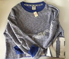 NWT Victoria's Secret PINK Cropped French Terry Varsity Crew Size S Matisse Blue