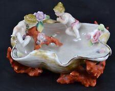 Unmarked Dresden or Meissen Style Cherubs Coral Bowl Putti Applied Flowers