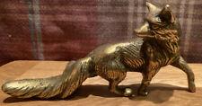 Vintage, heavy brass fox figure