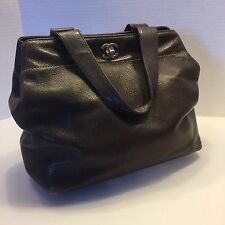 Authentic Chanel Brown Leather Tote Shoulder 2 Way Bag