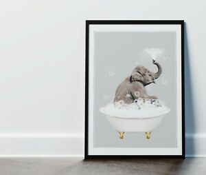 """Framed Elephant in the Bath Bathroom Picture 14x11"""" Black Frame with Mount"""