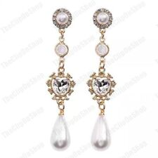 """2.75""""long STUD/CLIP ON vintage style EARRINGS pearl CRYSTAL heart GOLD FASHION"""