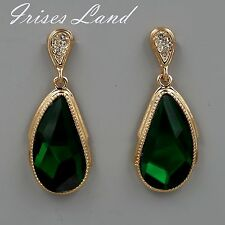 18K Gold Plated GP Green Swarovski Crystal Rhinestone Drop Dangle Earrings 8090