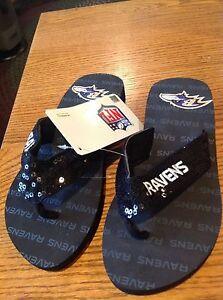 Baltimore Ravens NFL Sequined Flip Flops Size (XS Women's 5-6)/(Men's 3-4) ~ NWT