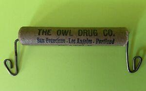 Antique Primitive Advertising OWL DRUG CO Bag Holder Wire Cardboard Handle Rare