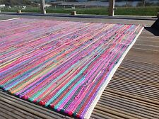 ❤️ Plain Bright Multi Colour Rag Rug 100cm x 100cm Small Square Flat Weave ❤️
