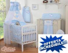 lettino bimbo culla per neonato con set coordinato velo materasso tutto atestato
