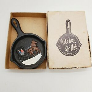 Vintage Miniature Skillet Cast Iron Painted Horse Scene