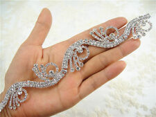 Splendido diamante strass da sposa Applique Trim Motivo a Perline Matrimonio APPLIQUE