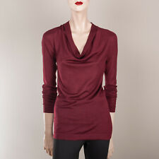 DEREK LAM  Damen Pullover S 36 Weinrot Bordeaux Seide Kaschmir Wasserfallkragen
