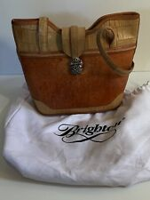 Brighton Leather Handbag Purse Brown Tan Cream with Felt Bag & Box Used