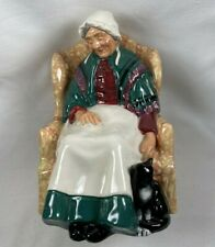 """Royal Doulton """"Forty Winks� Hn 1974 Lady Napping in her Chair with a Cat Signed"""