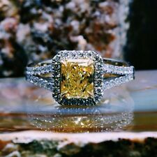 2.90 Ct. Radiant Cut Fancy Light Yellow Diamond Engagement Ring GIA 18k Two Tone