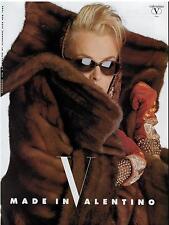 1989 VALENTINO Fur Coat  : magazine PRINT AD