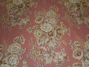 Antique Hollyhock Floral Satin Faille Fabric ~ Apricot  Peach Tan Cream Brown