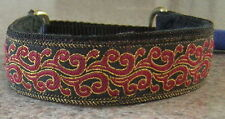 RED and GOLD FLAMES COLLAR n LEAD ITALIAN GREYHOUND MALTESE MINIATURE PINSCHER