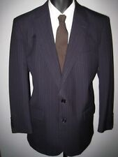 """40S navy blue pinstripe 2 button """"Tom James"""" bespoke tailored wool suit 34Wx28L"""