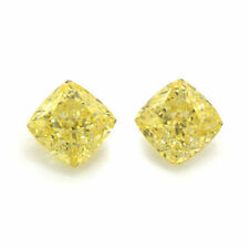 GIA Certs 0.84cttw MATCHED CUSHION diamonds NATURAL FANCY  YELLOW INT. FLAWLESS