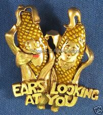 Signed DaneCraft Corn Ears Looking At You Brooch 5178