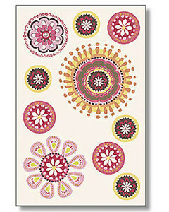 Geo Pods Retro 70's Look Mod Doodle Designs Flowers Spiral Pods Stickers Decals