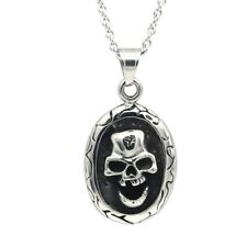 Skull Cameo Pendant Necklace Stainless Steel Goth Punk Jewelry By Controse